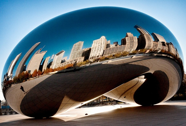 """Cloud Gate (2006), view #1, Millennium Park, Chicago.   Polished stainless steel sculpture aka """"The Bean"""" or """"The Silver Bean,"""" by Indian-born British artist Anish Kapoor • 168 plates seamlessly welded together • 33 x 66 x 42 ft. • inspired by liquid mercury • selected during design competition • Wikipedia"""