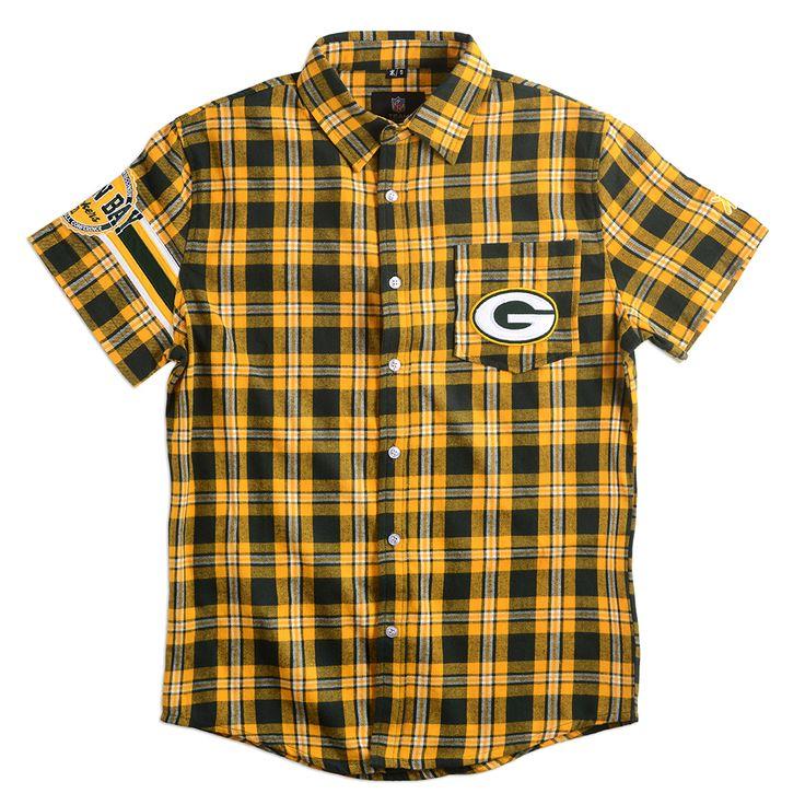 Green Bay Packers Wordmark Short Sleeve Flannel Shirt by Klew