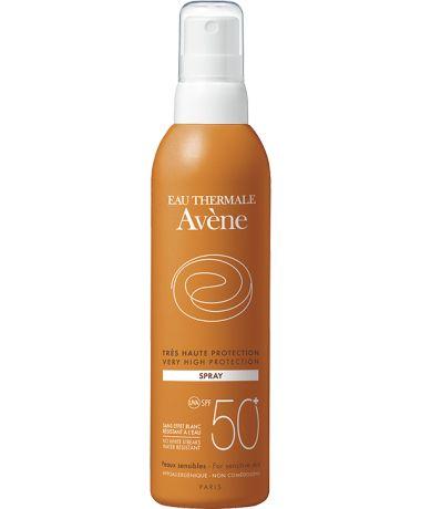 Avène Spray SPF 50+, é um protetor solar com protecção muito elevada para as peles mais sensíveis. Protecção de largo espectro UVB e UVA. Avène Spray SPF 50+ não conêm parabenos, é resistente à água, hipoalergénico e não comedogénico.
