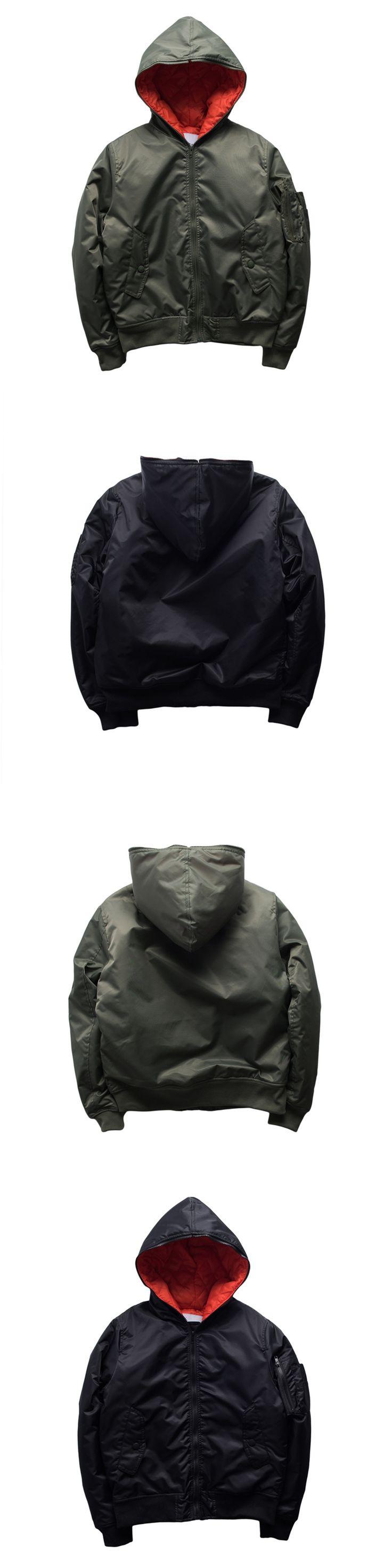 European fashion men High street autumn winter solid hooded jackets MA1 bomber jacket pocke thicker coat Warm Jacket Plus size
