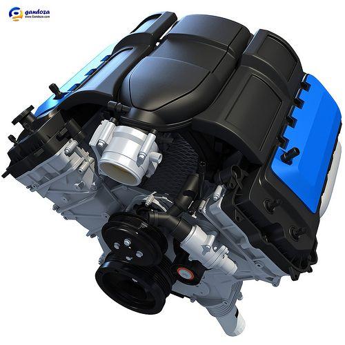 Centrifugal Supercharger For Motorcycle: V8 3D Engine Model