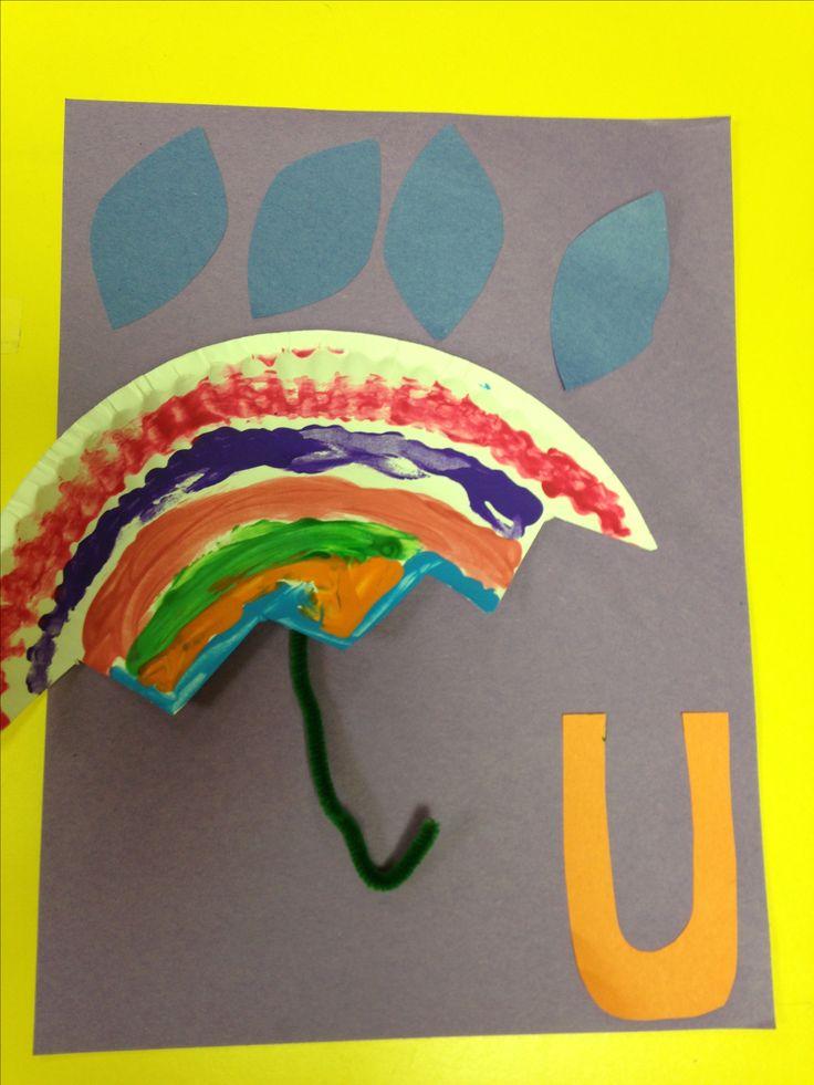 Letter U. Kindergarten craft...for our umbrella themed week!