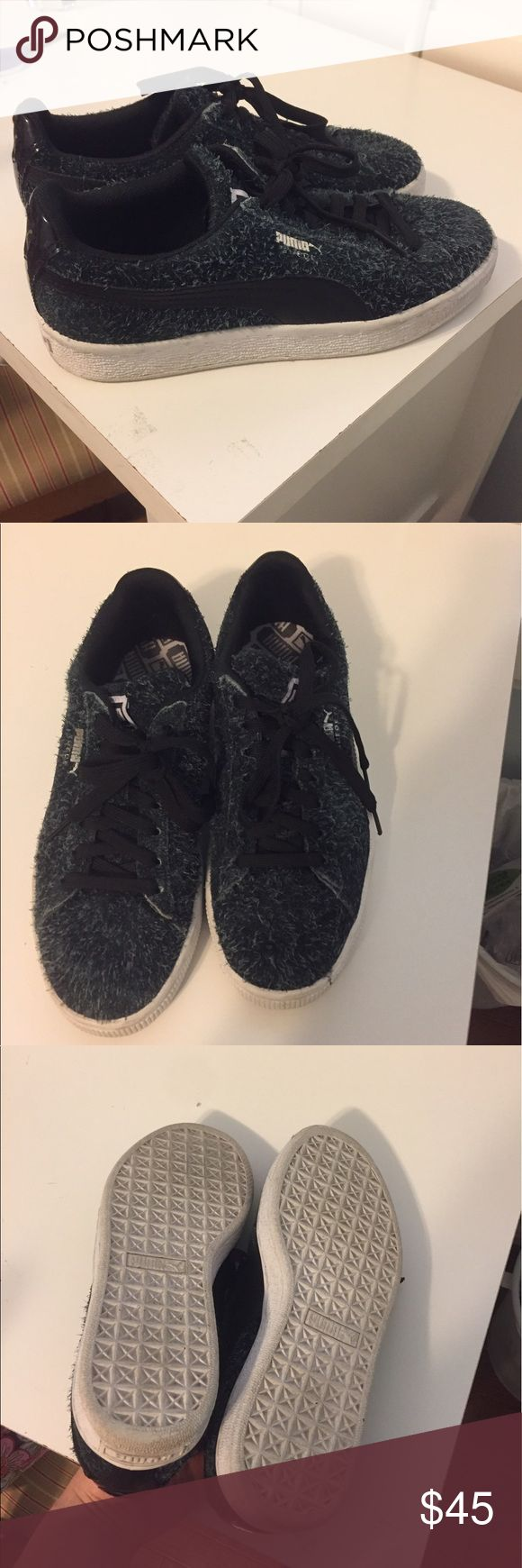Details about puma womens suede classic rg black running shoes - Black And Navy Frayed Suede Pumas
