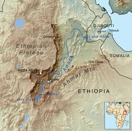 Modern Awash River, Ethiopia, descendant of the Palaeo-Awash, source of the sediments in which the oldest Stone Age tools have been found.  @ wikipedia.org