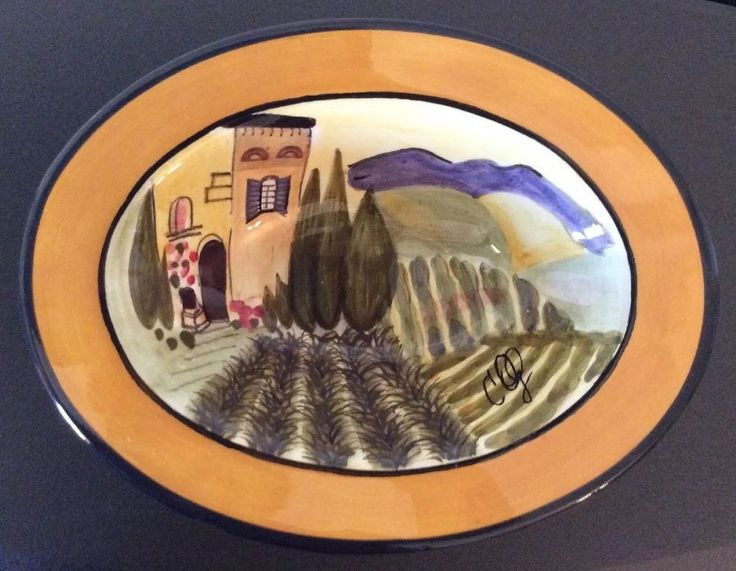 Signed Carrie Olsen Garrard Villa Provence Small Oval Bowl Tuscany Countryside  | eBay