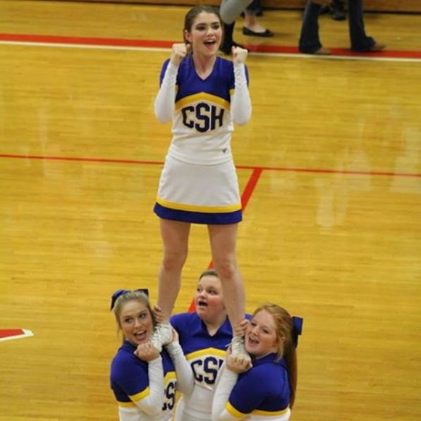 SOPHOMORES OF COLD SPRINGS HIGH CHEERLEADER SQUAD  The first basketball game of the year for Cold Springs versus Vinemont had these Cold Springs High School Sophomore Varsity Cheer athletes already in mid-season form:  ✪ Kylie Gann - back spot ✪ Samantha Wilcutt - right base ✪ Jada Peterson - left base ✪ Hailey McCombs - airborne  Full squad can be found here: http://coldspringshs.wix.com/coldspringshigh…  Photo provided by: Kyliee Gann