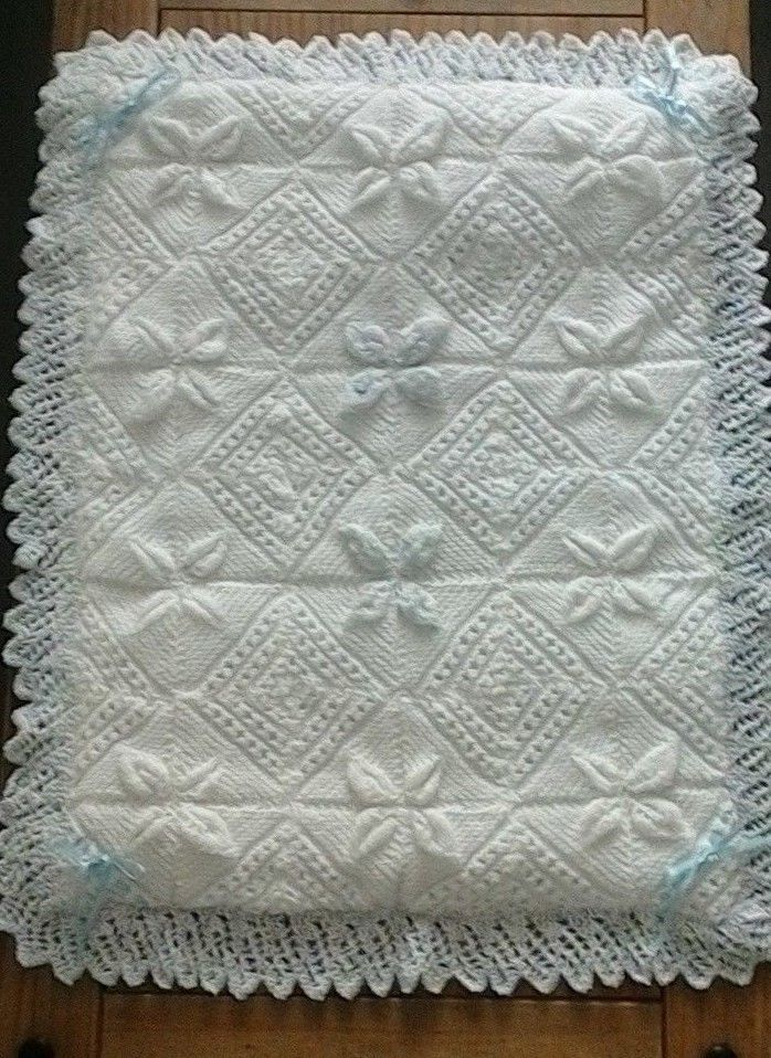 Hand Knitted Baby Blanket Pram Cover Leaf Pattern With Backing Handmade Baby Knitting Hand Knitting Blanket