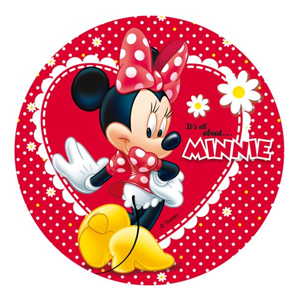 Oblea comestible Minnie Mouse Coqueta Margaritas Rojo