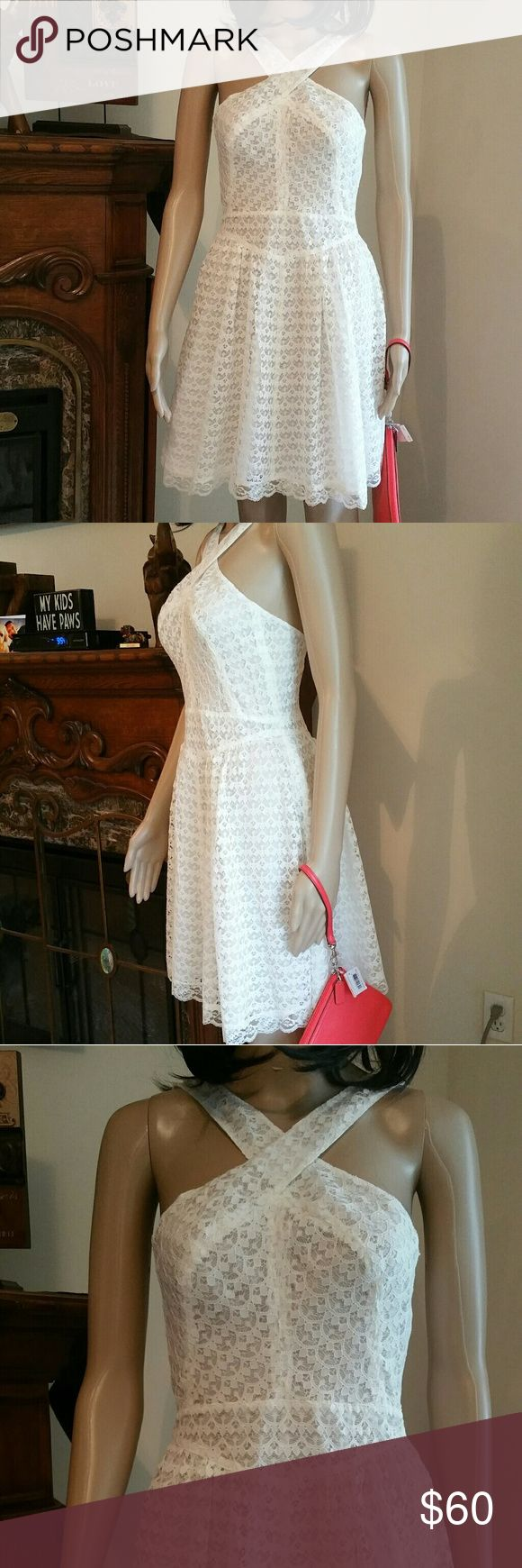 White Lace Dress Victoria's Secret Mode Intl Sz 2 White Lace Dress by Victoria's Secret  Label: Mode International  Size 2 Lace lined  Measurements are appropriates please leave a little room  Breast 32 to 33 Waist 27 to 28 Length 33 shoulder to hem  MSRP $70 Moda International Dresses Mini