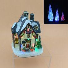 LED de 5 polegadas de Resina de Natal conduziu a iluminação casa de vila e 3 pcs acrílico DIODO EMISSOR de luz da lâmpada de árvore árvore de Natal e casa para presentes(China (Mainland))