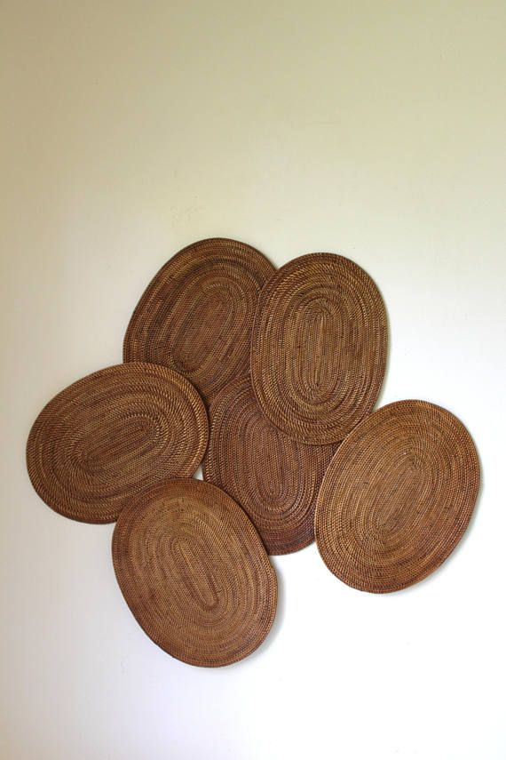 Vintage straw placemats/ set of 6 oval placemats/ large table