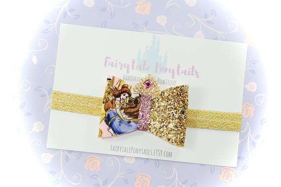 BELLE Glitter Bow Headband or clip Glitter Adjustable