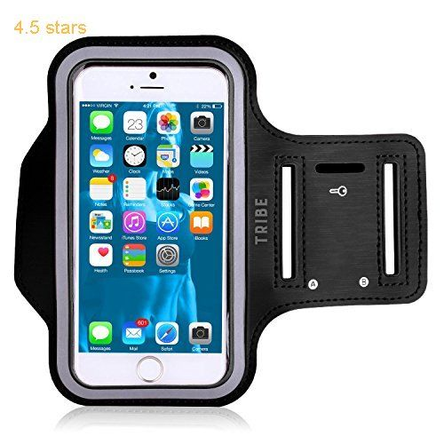 Water Resistant Cell Phone Armband: 5.7 Inch Case for iPhone 7 Plus 6/6S Plus S8 PIxel XL All Galaxy Note Phones  Adjustable Reflective Velcro Workout Band Key Holder & Screen Protector