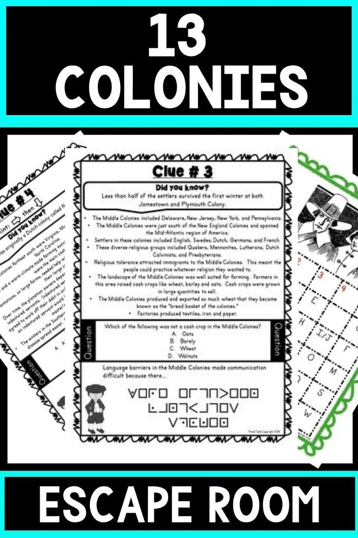 13 Colonies Escape Room New England Middle And Southern Colonies Print Go Think Tank Teacher In 2021 Upper Elementary Resources Southern Colonies 13 Colonies Activities [ 1104 x 736 Pixel ]