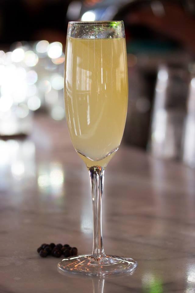 Faux 75 - lemon juice, juniper berries and soda (non-alcoholic) — at Luma. #Toronto #restaurant #cocktails #food