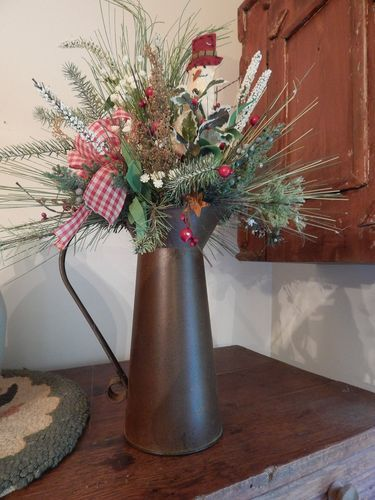Christmas Holiday Winter Rustic Pitcher Snowman Floral Arrangement Wreaths | eBay