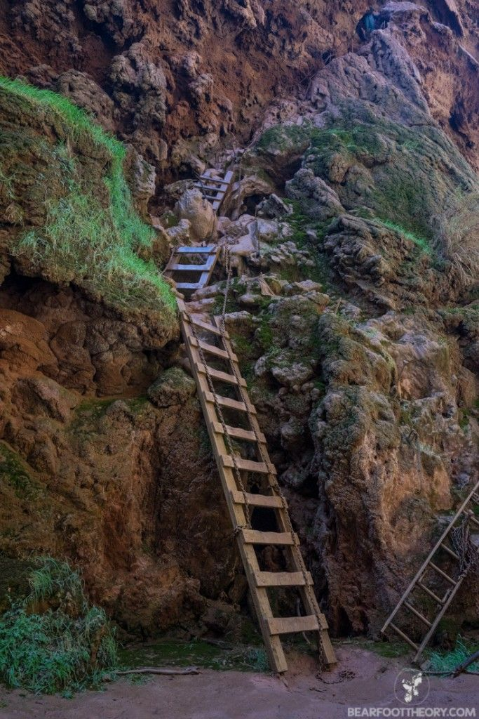 The trail down to Mooney Falls on the Havasupai Indian Reservation. bearfoottheory.com