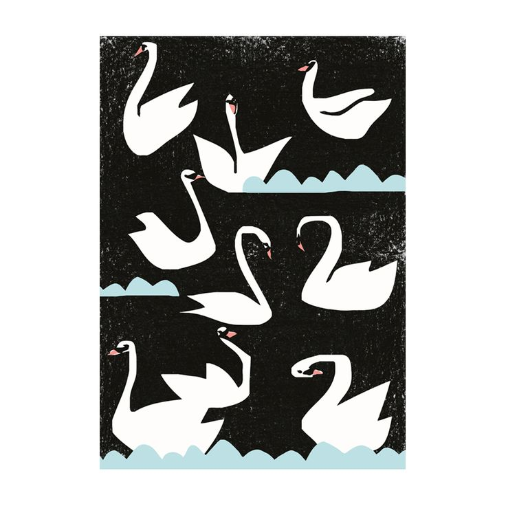 """""""Night Swans"""" poster - Two sizes available, A3 and 50 x 70 cm (unframed)   room to decorate   scandinavian and vintage designed homewares - online shop"""
