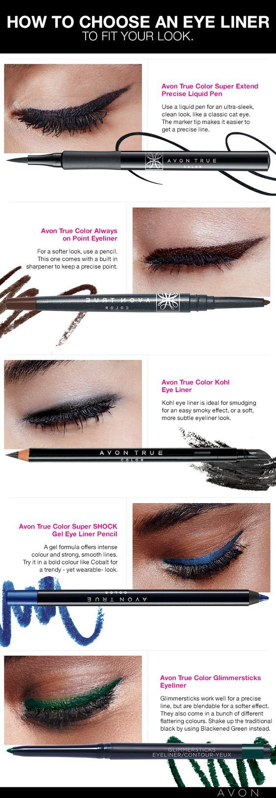 How to choose the perfect Avon Eye Liner just  got easier with the handy chart. Shop Avon eyeliner online at www.youravon.com/my1724 or by clicking the pin to take you to the sales!!