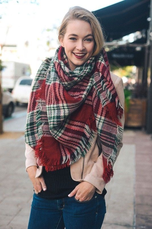 Kelly Brett Boutique - Classic Blanket Scarf Red/Green, $24.00 (https://www.kellybrettboutique.com/classic-blanket-scarf-red-green/)