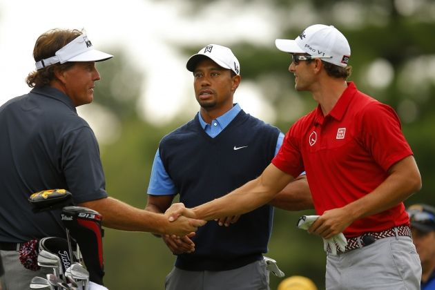 Lefty, Tiger and Adam Scott on the first tee