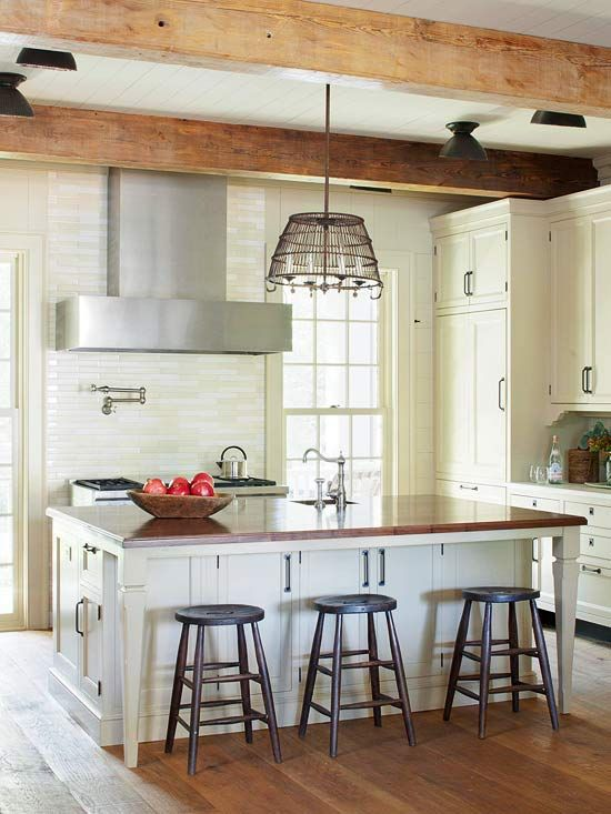 walnut countertop, metal chandy, reclaimed wood beams: Kitchens Interiors, Walnut Countertop, Ideas, Kitchens Design, Kitchens Islands, Farmhouse Style, Islands Storage, Modern Kitchens, Woods Beams