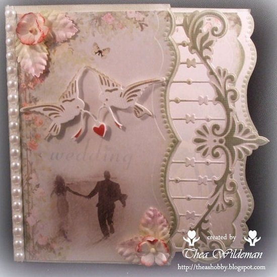 Card made by Thea Wildeman with Creatables Anja's Border (LR0300) and Tiny's Love Birds (LR0298) by Marianne Design