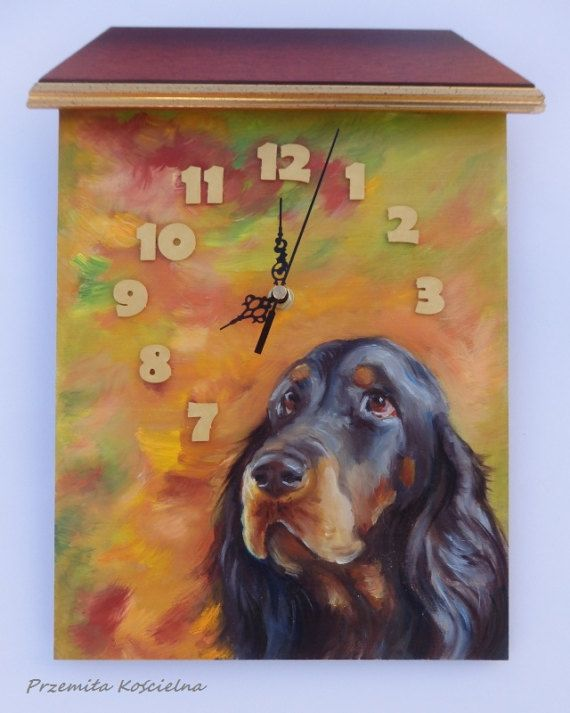 GORDON SETTER DOG Funny Wall Clock Painted clock Original #GordonSetter #dog #funny #clock #paintedclock #petportraits #painting #art #handmade #giftideas #homedecor #birddogs #animals #canisartstudio