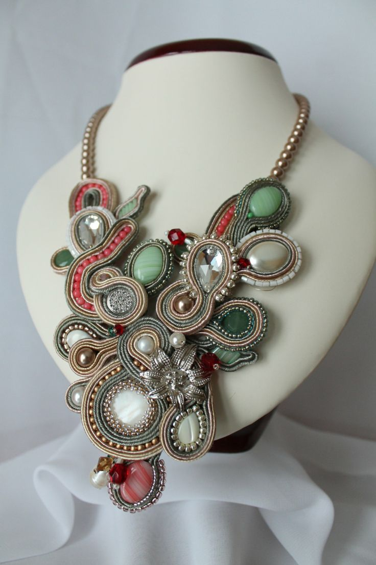 Soutache gray necklace in olivecreamgraywhite. by SoftAmethyst,