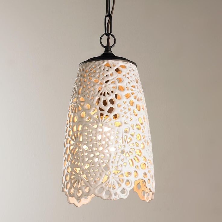 White Lace Ceramic Doily Pendant - $219