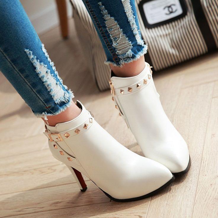 Новая мода осень и зимние ботинки женщин сексуальные высокие пятки острым носом обувь женщина кожаные женские сапоги белые свадебные туфли 2016