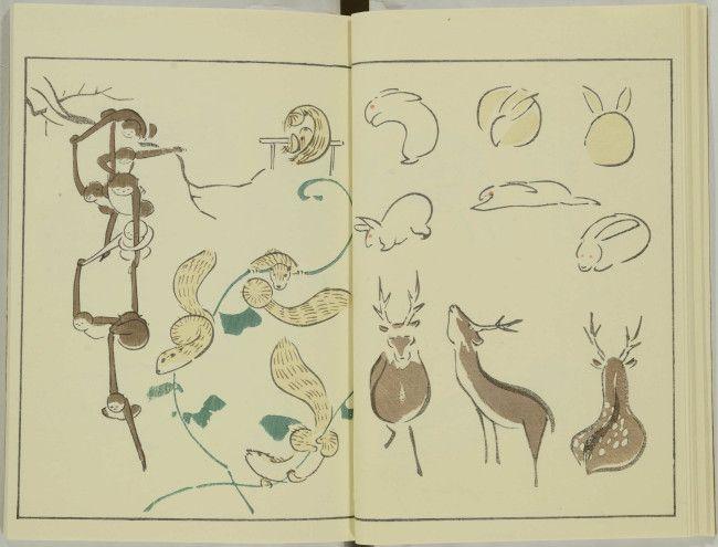 鍬形蕙斎(くわがたけいさい)「鳥獣略画式」