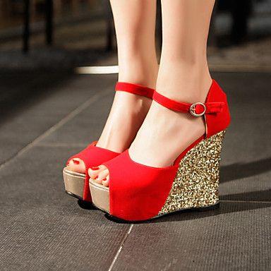 Zapatos de mujer - Tacón Cuña - Cuñas - Sandalias - Vestido / Fiesta y Noche - Ante Sintético - Negro / Azul / Rojo 2016 – $710.41