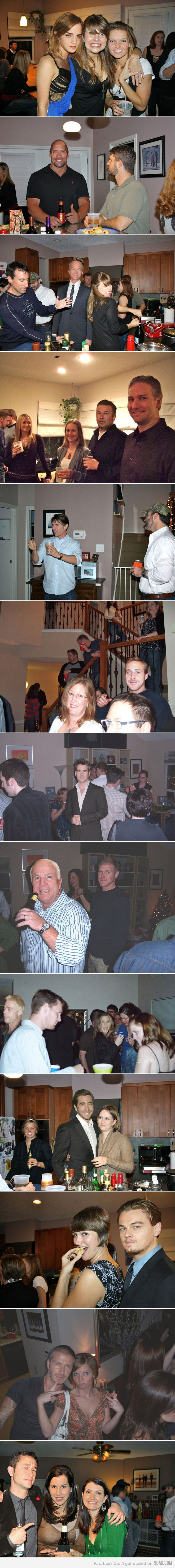 Facebook trolling. photoshop celebs into party pics. hilarity