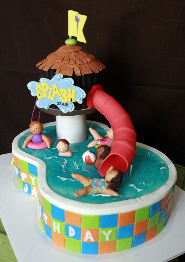 Pool Party Cakes, Pool Parties, Pool Birthday Cakes, Swimming Pool Cakes,  Swimming Cupcakes, Swimming Pools, Waterslide Cake, Crazy Cakes, Water  Slides