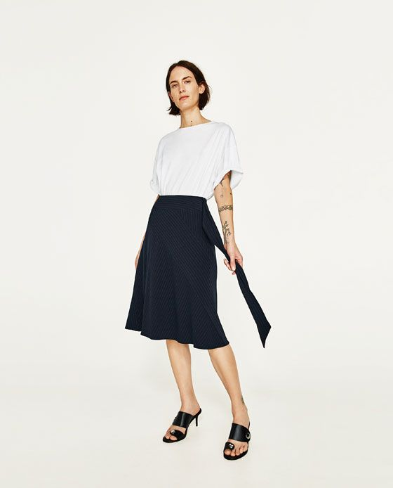 ZARA - WOMAN - PINSTRIPE SKIRT WITH BELT
