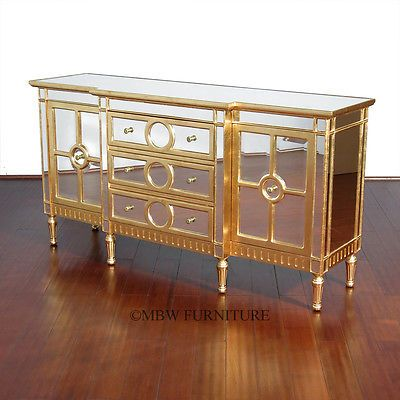 Great Eclectic Modern Elegance Credenza Cabinet | 6Ft Eclectic Mirrored Glass  Buffet Sideboard Server W/ Silver