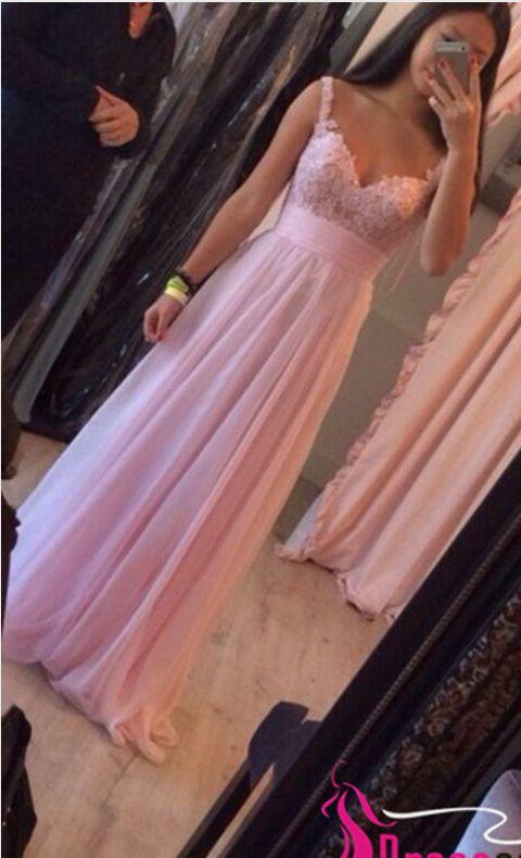 Peach Pink Chiffon Prom Dresses, Spaghetti Straps Prom Dresses,Pink Lace Applique Prom Dresses Long Prom Dress Evening Gown,Empire Waist Prom Dress,Formal Women Dress,A Line Floor Length Graduation Dresses