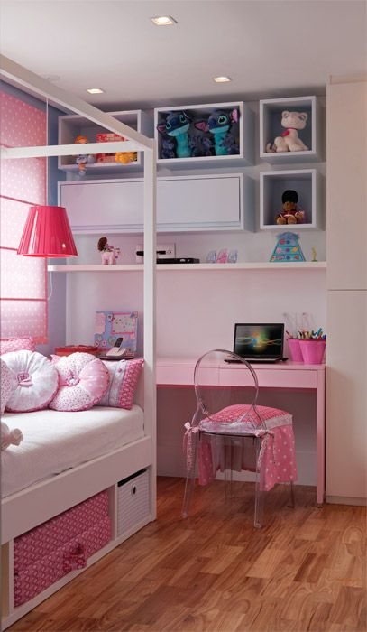 menina, branco, rosa: 17 Decoracão Criança, Kids Bedrooms, Room, Bichinho Decoração, The 4Th Girl, Big Girls Rooms, Architectural Decoration, Child, Kids Rooms