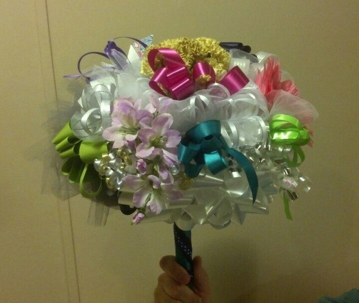 Wedding Rehearsal Bouquet that I made for a dear friend. Be sure to save those bridal shower ribbons! :)