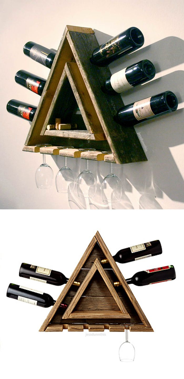 Triangle wall wine rack from reclaimed wood #product_design