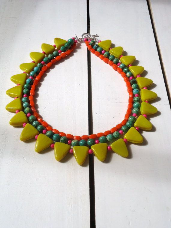 Sunflowers A Yellow Orange and Green Necklace in by CustardFox, $25.00