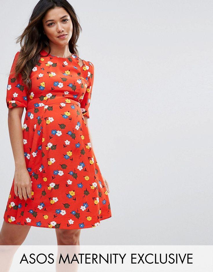 ASOS Maternity Cut out Shoudler 40's Printed Tea Dress - Multi