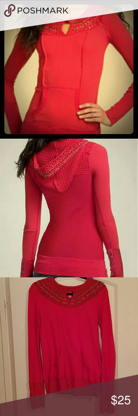 Free People red thermal hoodie Free People stretchy thermal hoodie with crochet neckline. Front pocket and 6 bronze buttons on sleeve cuffs. 57% cotton, 42% modal, 1% spandex Free People Tops Sweatshirts & Hoodies