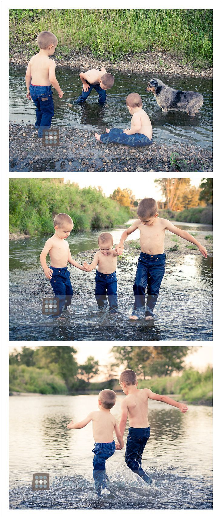 family portraits, brothers playing in the creek