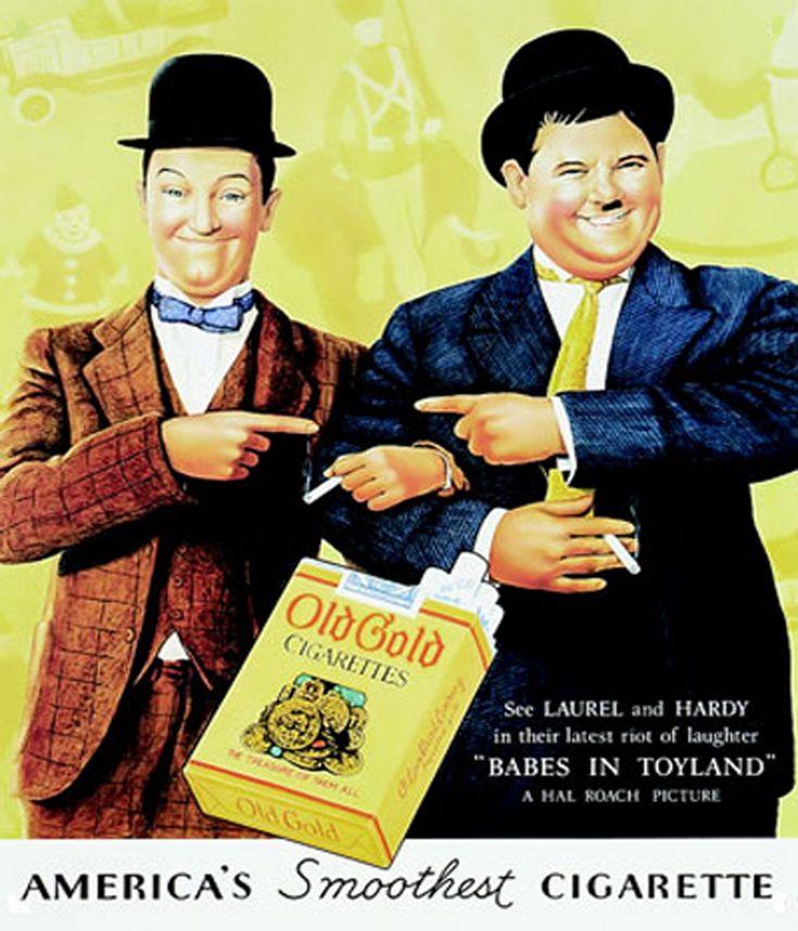 Laurel & Hardy smoke Old Gold Cigarettes in 1934: Vintage Posters, Hardy Smoke, Gold Cigarettes, Vintage Cigarettes Ads, Stan Laurel, Vintage Wardrobe, Celebrities Advertis, Laurel Hardy, Vintage Ads