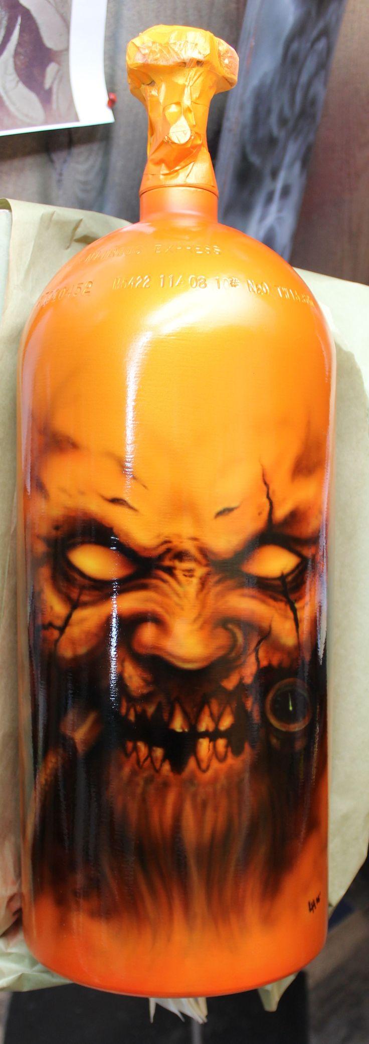 NX Nitro Nitrous bottle custom freehanded airbrush paint job by Layn Hamilton with an Iwata hp-ch