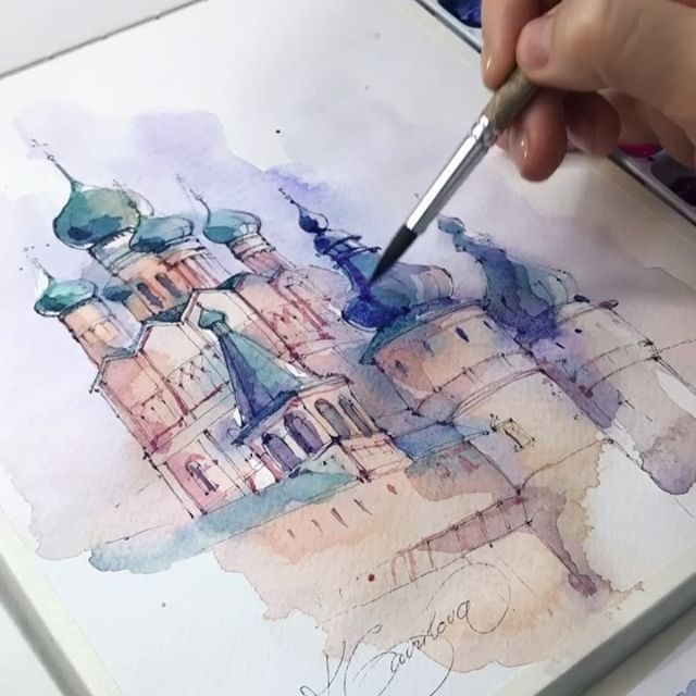 Watercolor Sketching Xtina Gavrilova Art Instagram Photos And