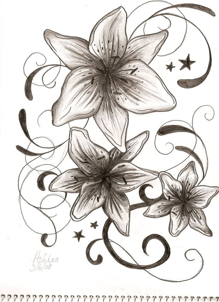 I want 3 lilies like this to symbolize Me, hubby & son.  Along with 7 stars (on another tat pic) to symbolize July.