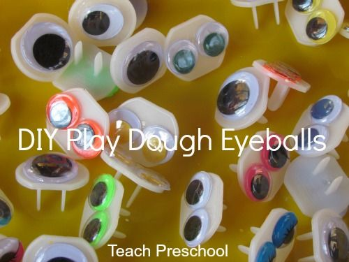 DIY eyeballs for our play dough spiders